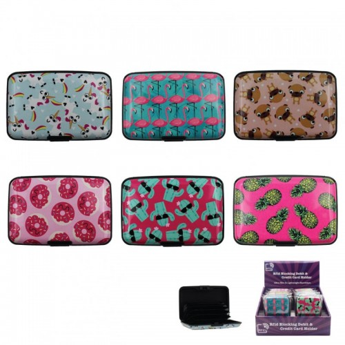 Cute Credit Card Wallet Hard Case ID Holder Gift Pug Donut Flamingo Unicorn lot