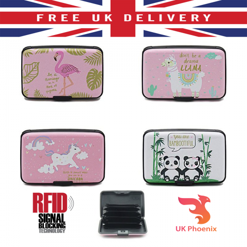 Credit Card Holder Case Theft Protector Lama Unicorn Flamingo Panda Novelty lot